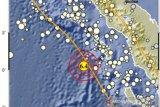 Getaran gempa bumi di barat daya Nias dirasakan hingga Padang