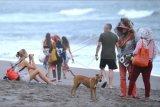 Pedagang pantai menawarkan dagangannya kepada wisatawan mancanegara (wisman) di kawasan Pantai Batu Bolong, Canggu, Badung, Bali, Senin (3/5/2021). Berdasarkan data Badan Pusat Statistik (BPS), secara kumulatif jumlah kunjungan wisman ke Indonesia pada periode bulan Januari-Maret 2021 tercatat sebesar 385.590 kunjungan atau turun sebesar 85,45 persen jika dibandingkan dengan jumlah kunjungan wisman pada periode yang sama pada tahun 2020 dengan jumlah 2,65 juta kunjungan. ANTARA FOTO/Fikri Yusuf/nym.