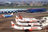 Sejumlah pesawat dari berbagai maskapai parkir di Apron Bandara Soekarno Hatta, Tangerang, Banten, Jumat (7/5/2021). Pemerintah melalui Kementerian Perhubungan menghentikan sementara aktivitas penerbangan komersial terjadwal baik dalam dan luar negeri terhitung mulai 6 hingga 17 Mei 2021, hal tersebut merupakan bagian dari pengendalian transportasi selama masa larangan mudik Lebaran 1442 H untuk mencegah penyebaran COVID-19. ANTARA FOTO/Muhammad Iqbal/hp.