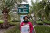 Wartawan TV Perum LKBN Antara Biro Kepulauan Bangka Belitung Meri Yanti saat menerima piagam penghargaan dari Dirjen KSDAE, Wiratno atas kontribusi dalam publikasi pelestarian lingkungan dan ekosistem di Provinsi Bangka Belitung. Dalam rangka memperingati hari Internasional keanekaragaman Hayati dan Rangkaian Road to HKAN ( Hari Konservasi Alam Nasional ) tahun 2021di Kawasan Hutan Lindung Mangrove Munjang kecamatan Kurau Barat, Bangka Tengah, Senin ( 24/5).