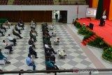 SOSIALISASI EMPAT PILAR MPR RI. Ketua Majelis Permusyawaratan Rakyat Republik Indonesia (MPR RI) , Bambang Soesatyo (depan) memberikan kuliah umum saat menghadiri Sosialisasi Empat Pilar MPR RI di gedung AAC Dayan Dawood, Banda Aceh, Aceh, Kamis (10/6/2021) . Sosialisasi Empat Pilar MPR RI di USK itu mengangkat tema,