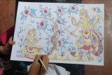 Pelajar mengikuti lomba seni lukis wayang klasik dalam rangkaian Pesta Kesenian Bali ke-43 di Denpasar, Bali, Senin (21/6/2021). Perlombaan yang diikuti pelajar SMP se-Bali tersebut untuk memahami filosofi wayang klasik serta sebagai upaya pelestarian seni lukis wayang klasik di era digital. ANTARA FOTO/Nyoman Hendra Wibowo/nym.