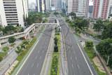 Suasana lalu lintas ibu kota sepi saat PPKM Darurat