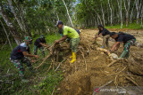 Prajurit TNI dan warga bergotong royong memindahkan kayu saat program Tentara Manunggal Membangun Desa (TMMD) di Desa Suato Lama, Kabupaten Tapin, Kalimantan Selatan, Senin (12/7/2021). Kodim 1010/Tapin melaksanakan program TMMD ke 111 dengan membangun jalan desa sepanjang 3.149 meter, merenovasi mushola, poskamling dan rumah warga guna meningkatkan perekonomian masyarakat sekaligus membantu pemerintah dalam percepatan pembangunan serta dilokasi TMMD tersebut dilaksanakan sosialisasi stunting, wawasan kebangsaan, protokol kesehatan dan vaksinasi massal. Foto Antaranews Kalsel/Bayu Pratama S.