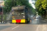 Selama PPKM Darurat,  Jalan-jalan utama di Klaten disemprot disinfektan