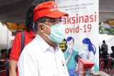 Ketua Umum Palang Merah Indonesia (PMI) Pusat Jusuf Kalla saat memberikan keterangan kepada media. (Antara/HO/PMI/IFRC).