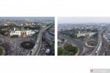 Suasana pusat kota Palembang saat Idul Adha