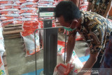 Beras PPKM. Staf Bulog menimbang berat beras bantuan sosial yang akan disalurkan kepada masyarakat yang terdampak PPKM di Gudang Bulog di Aceh Besar, Kamis (22/7/2021). Bulog menyalurkan 4.261 ton beras bantuan PPKM kepada 426.174 keluarga penerima manfaat di Provinsi Aceh. ANTARA/M Haris SA
