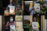 Foto kolase warga menunjukkan bantuan beras yang diperolehnya di Surabaya, Jawa Timur, Rabu (28/7/2021). Pembagian beras dari Kementerian Sosial kepada penerima bantuan tersebut untuk meringankan beban mereka yang terdampak oleh pandemi COVID-19. Antara Jatim/Didik Suhartono/zk