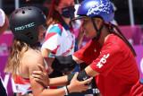 Persaingan yang penuh persahabatan di arena skateboard Olimpiade Tokyo