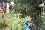 Truk masuk jurang di Jalan Raya Jonggat