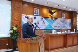 Rektor Universitas Pancasila Prof. Edie Toet Hendratno memberikan sambutan dalam acara penandatangan MoU dengan Badan Keahlian DPR RI.