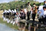 Sembilan pasangan calon pengantin di Kulon Progo menebar ikan di Sermo