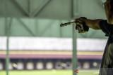 Atlet menembak 50 m Free Pistol Men's Marthin J Lala menjalani latihan rutin di lapangan tembak KONI Cimahi, Kota Cimahi, Jawa Barat, Selasa (21/9/2021). Tim menembak Jawa Barat menargetkan perolehan sembilan medali emas pada ajang PON Papua. ANTARA FOTO/M Agung Rajasa/agr