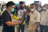 PON Papua-Kedatangan tim futsal Maluku Utara disambut warga di Timika