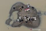 Foto udara suasana prosesi Tradisi Ruwatan Sungai Cilamaya di Bendungan Barugbug, Jatisari, Karawang, Jawa Barat, Rabu (22/9/2021). Kegiatan tersebut diselenggarakan oleh Forum Daerah Sungai (Fordas) Cilamaya Berbunga sebagai ungkapan rasa syukur dan keberkahan yang diberikan Tuhan atas air yang mengalir dari sungai Cilamaya melalui Kabupaten Purwakarta, Subang dan Karawang untuk kehidupan masyarakat. ANTARA FOTO/M Ibnu Chazar/agr