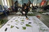 Peserta menata daun pada kain katun saat pelatihan kerajinan ecoprint di Desa Paron, Kediri, Jawa Timur, Minggu (26/9/2021). Pelatihan yang diikuti ibu-ibu rumah tangga tersebut guna memberikan wawasan tentang pembuatan kain ecoprint berbasis warna alam yang dapat menjadi usaha sampingan guna membantu perekonomian keluarga. Antara Jatim/Prasetia Fauzani/zk