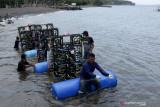 Nelayan melakukan proses penenggelaman apartemen ikan di Pantai Cacalan, Banyuwangi, Jawa Timur, Sabtu (25/9/2021). Sebanyak 40 modul apartemen ikan sebagai terumbu karang buatan itu, ditenggelamkan sebagai upaya peningkatan sumberdaya perikanan di Banyuwangi. Antara Jatim/Budi Candra Setya/zk
