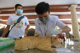 Dokter hewan menyuntikkan vaksin rabies kepada seekor kucing saat pelaksanaan Vaksinasi Rabies Gratis di Pendopo Indramayu, Jawa Barat, Selasa (28/9/2021). Pemerintah setempat bersama dengan Dinas Peternakan dan Kesehatan Hewan mengadakan vaksinasi rabies gratis untuk mencegah adanya penyakit rabies pada hewan peliharaan dalam rangka memperingati World Rabies Day. ANTARA FOTO/Dedhez Anggara/agr