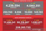 Penerima vaksin lengkap capai 66,31 juta jiwa di Indonesia
