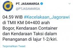 Rabu pagi, Truk Kontainer alami kecelakaan di Tol Jagorawi KM 04 arah Bogor