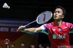 Bulu tangkis _ Anthony Sinisuka Ginting ke perempatfinal Thailand Open