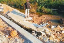 Belum setahun dibangun, saluran irigasi sudah jebol di Aceh Jaya