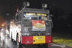 Polres Bogor kerahkan mobil water canon semprotkan disinfektan cegah COVID-19