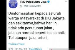 Polda Metro memastikan tidak ada penutupan jalan di Jakarta