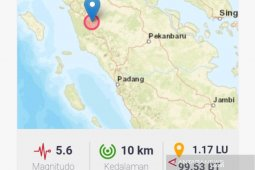 Gempa magnitudo 5,6 guncang Padang Lawas