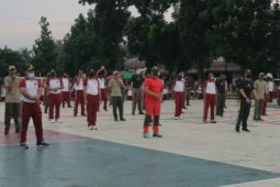 Tingkatkan soliditas, Polres Simalungun gelar olahraga bersama dengan TNI