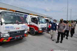 Dirlantas Polda Lampung pimpin apel dan mengecek kesiapan jalan tol Sumatera