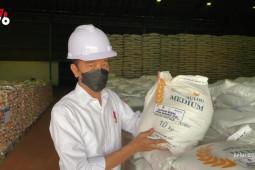 Presiden Jokowi cek stok beras nasional di gudang Bulog