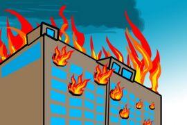 Menara Astra terbakar