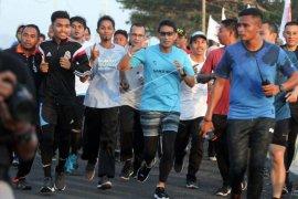 Sandiaga Uno lari pagi di Lhokseumawe Aceh
