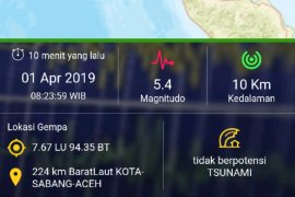 BMKG confirms 15 earthquakes hit Sabang City Monday morning