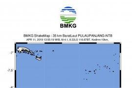 Gempa magnitudo 4,1  guncang Lombok Utara