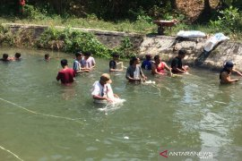 Meski dilarang warga tetap mencuci jeroan di Selokan Mataram