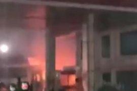 Sepeda motor terbakar di SPBU Tanjung Hilir
