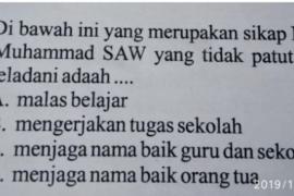 Ditemukan Soal Ujian SD yang dinilai melecehkan Nabi Muhammad SAW