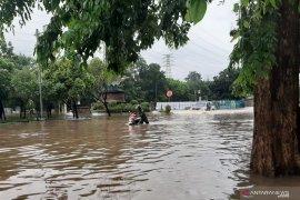 Belasan mesin motor mati nekat lintasi banjir di Cawang