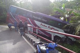 Bus rombongan duta hadis Bengkulu kecelakaan di Lampung