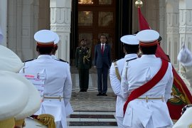Presiden  Jokowi disambut upacara kenegaraan di Istana Qasr Al Watan UEA