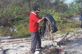 Ketua DPRD Bangka bersama jurnalis bersihkan pantai