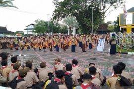Pramuka Banjarmasin meningkatkan patriotisme pada upacara gelar senja