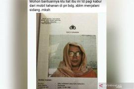 Akan disidang, seorang tahanan wanita di Bandung kabur