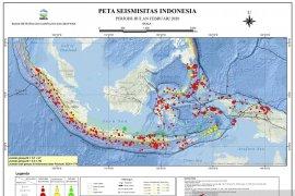 Indonesia mengalami 779 kali gempa  selama Februari 2020