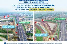Lalu lintas arah Cikampek menuju Kawasan MM2100 kembali akan dialihkan