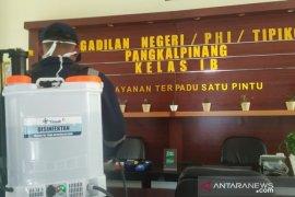 PT Timah disinfektan kantor pelayanan publik di Pangkalpinang