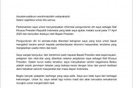 Presiden setujui Stafsus Andi Taufan mundur